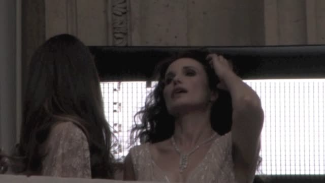 we spotted andie macdowell and her 17 year-old daughter sarah margaret doing a photo-shoot at the hotel de crillon. the young sarah margaret will... - andie macdowell stock videos & royalty-free footage
