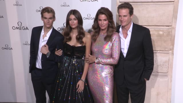 we spotted cindy crawford and her husband rande gerber, kaia gerber, her brother presley gerber and more attending the her time omega photocall party... - cindy crawford stock videos & royalty-free footage