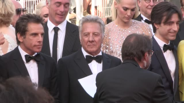 we spotted dustin hoffman and his wife lisa adam sandler and his wife jackie ben stiller emma thompson director noah baumbach and more on the red... - noah baumbach stock videos and b-roll footage
