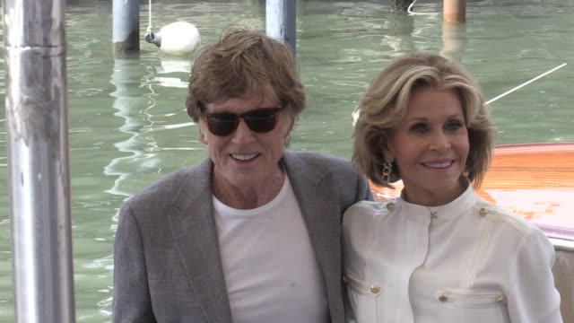 we spotted golden lion for lifetime achievement robert redford and jane fonda arriving at the photocall of our souls at night at the venice film... - photo call stock videos & royalty-free footage