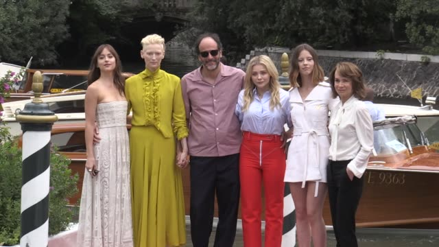 we spotted jessica harper chloe grace moretz mia goth dakota johnson tilda swinton luca guadagnigno arriving in venice for the promotion of their... - photo call stock videos & royalty-free footage