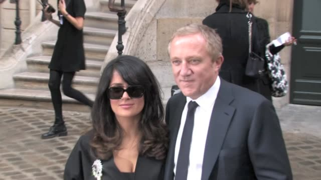 we spotted the actress salma hayek and her billionaire husband françois henri pinault attending balenciaga's fashion show ready to wear springsummer... - salma hayek stock videos and b-roll footage