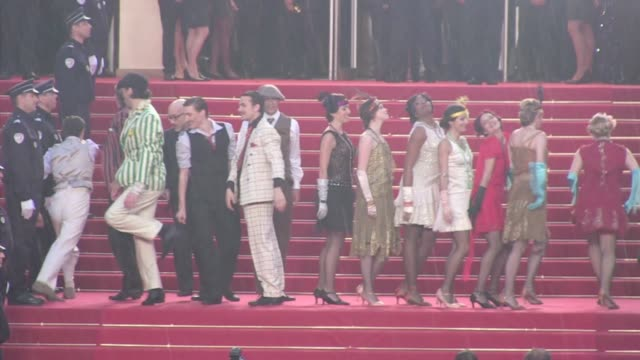 we spotted the american actor leonardo dicaprio and the cast of his latest movie the great gatsby promoting their flick in cannes during the film... - tobey maguire stock-videos und b-roll-filmmaterial