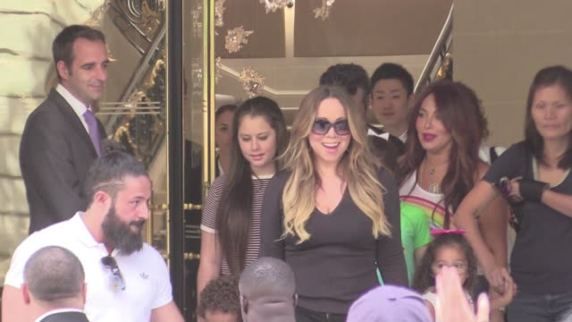 we spotted the american superstar mariah carey and her adorable twins moroccan and monroe getting out of their hotel the peninsula in paris the... - mariah carey stock videos and b-roll footage