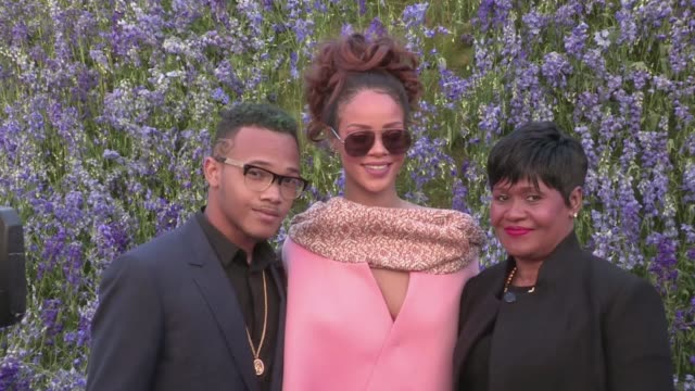 we spotted the beautiful singer rihanna, her mother monica braithwaite and her brother rajad fenty on their way to the dior spring summer 2016... - monica singer stock videos & royalty-free footage
