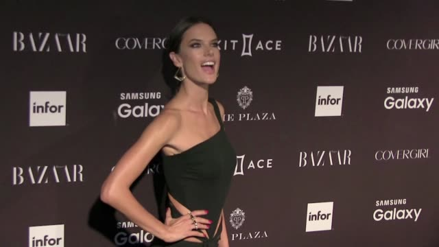 vídeos de stock, filmes e b-roll de we spotted the celebrity guest attending the harper's bazaar icons party during the spring summer 2016 fashion week in new york city among them the... - alessandra ambrosio