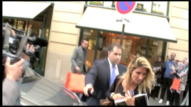 we spotted the daughter kim kardashian and her mother kris kardashian leaving the ritz palace on place vendome to go to the hermes store in paris for... - hermes designer label stock videos and b-roll footage