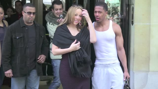 we spotted the diva superstar mariah carey and her husband nick cannon leaving the plaza athenee after a few days spent in the city of love to... - mariah carey stock videos and b-roll footage