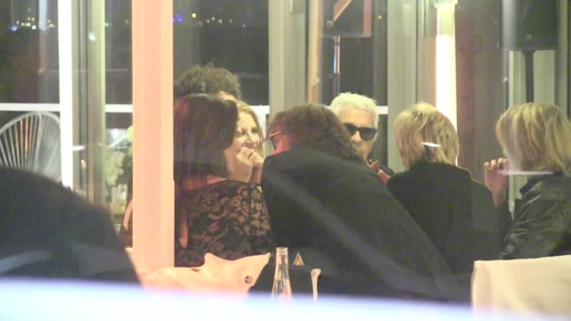 We spotted the German designer Karl Lagerfeld leaving the Vanity Fair Party in Cannes at Tetou restaurant Cannes France on Sunday May 19 2013