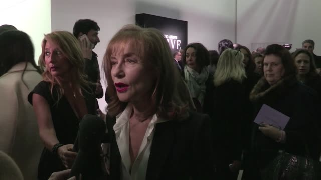 we spotted the guest front row at the giorgio armani privé haute couture fashion show in paris, among them: isabelle huppert, juliette binoche,... - charlotte rampling stock videos & royalty-free footage