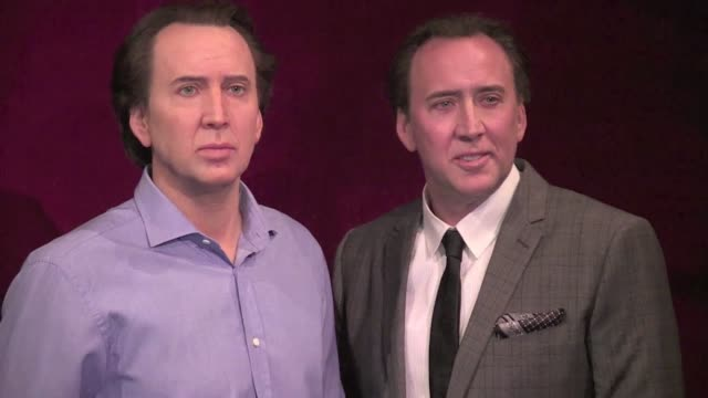 we spotted the interview of nicolas cage at the musee grevin in paris after the presentation of his wax statue nicolas cage interview at musee grevin... - nicolas cage stock videos & royalty-free footage