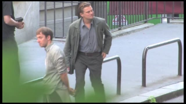 we spotted the multiple oscar nominee leonardo dicaprio along with oscar nominee ellen page on the parisian set of christopher nolan s new movie... - film set stock videos & royalty-free footage