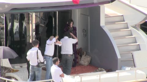 we spotted the spanish actress paz vega doing a photo-shoot on roberto cavalli's yacht in cannes cannes, france on friday may 17, 2013 - roberto cavalli stock videos & royalty-free footage