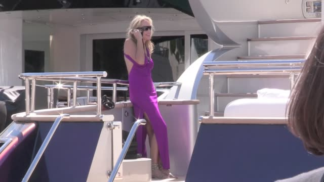 we spotted the stunning american actress defying time sharon stone spending some good time on roberto cavalli's yacht in cannes cannes france on... - roberto cavalli stock videos and b-roll footage