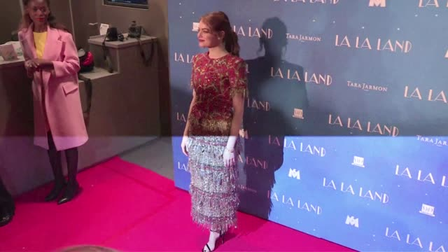 We spotted the young actress Emma Stone posing for the press at the La La Land Premiere in Paris on January 10 2017 in Paris France