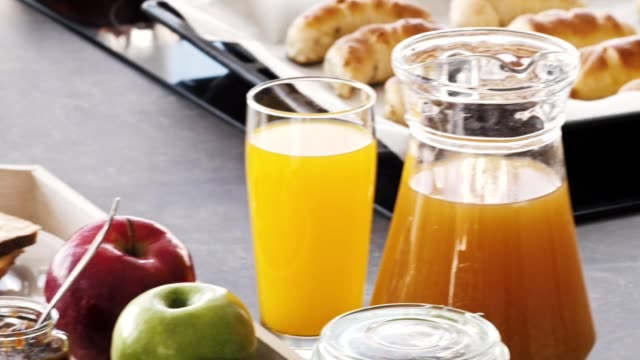 wealthy breakfast on the kitchen counter - tray stock videos & royalty-free footage