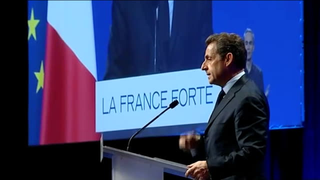 wealthy french expats head to london to avoid high taxes; t03041214 / tx 3.4.2012 france: paris: various of nicolas sarkozy speaking at election... - president of france stock videos & royalty-free footage