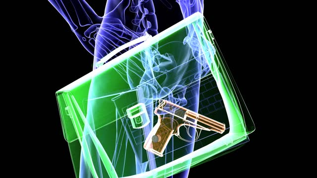 weapon detected in xray - biomedical illustration stock videos & royalty-free footage