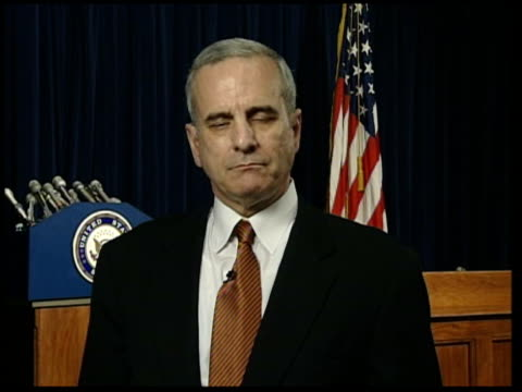 weapons dossier row: committee report due; itn usa: washington dc: int senator mark dayton interviewed sot - discusses search for weapons of mass... - weapons of mass destruction stock videos & royalty-free footage