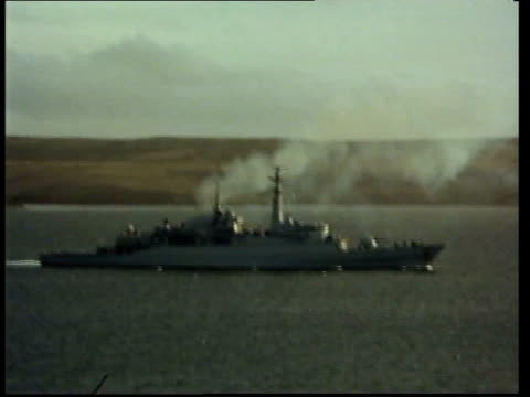 mod weapons mod weapons pool ls ship in san carlos bay gv two ships - falkland islands stock videos and b-roll footage