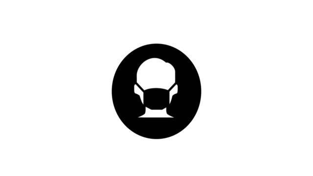 wear a mask looping animated icon with space for copy or logo on white background - regole video stock e b–roll