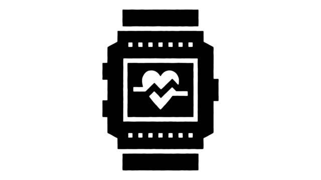 bärbar teknik linje ritning & bläck splatter avslöja animation med alpha - lyssna på hjärtslag bildbanksvideor och videomaterial från bakom kulisserna