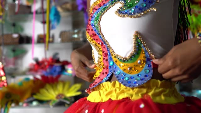 wearing carnival costume - hairstyle stock videos & royalty-free footage