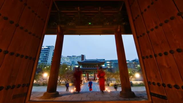 MS T/L Wearing traditional uniform guards at changgyeonggung palace / Seoul, South Korea