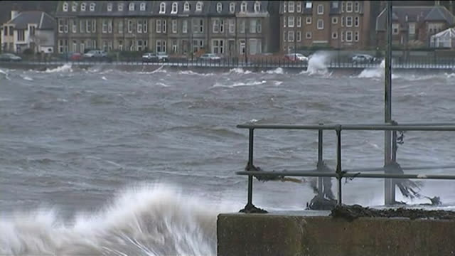 'Weather bomb' hits north west of UK SCOTLAND Largs Large waves and spray blowing over seafront promenade and road Sea spray blowing over promenade...