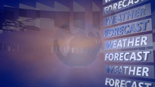 wettervorhersage hintergrund mit einem rotierenden globus - bericht stock-videos und b-roll-filmmaterial