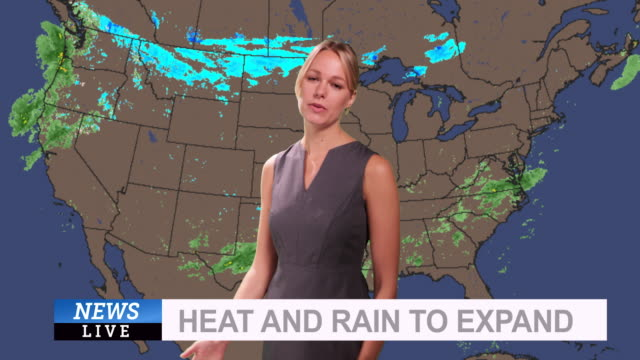vídeos de stock, filmes e b-roll de weather forecast in a green screen studio - meteorologia