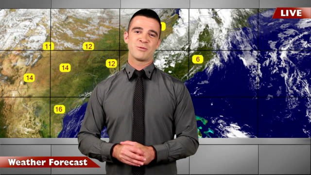 weather forecast-live in studio with map - television show stock videos and b-roll footage