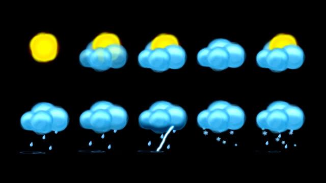 vídeos de stock, filmes e b-roll de conjunto de ícones de meteorologia - relâmpago em ziguezague