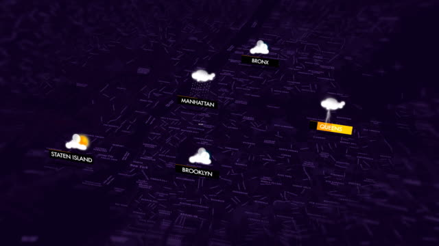 weather map for new york city - map icon stock videos and b-roll footage
