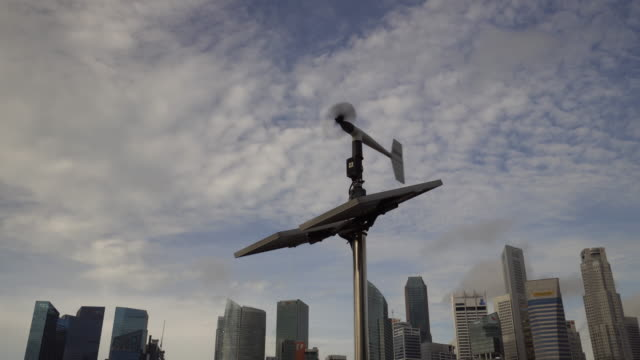 weather vane with solar cell - instrument of measurement stock videos & royalty-free footage
