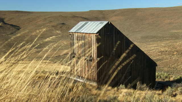 a weathered barn at the oregon trail interpretive center in the hells canyon scenic byway - weathered stock videos & royalty-free footage