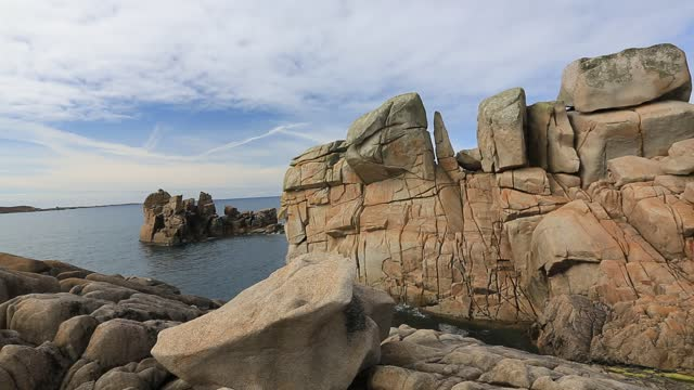 weathered granite boulders on, peninnis head, st mary's, scilly isles. - igneous stock videos & royalty-free footage