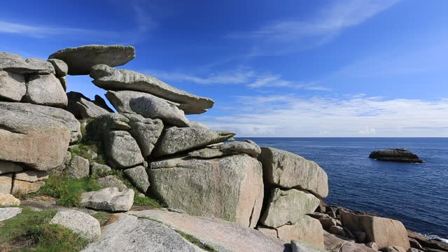 weathered granite boulders on, peninnis head, st mary's, scilly isles. - distressed stock videos & royalty-free footage