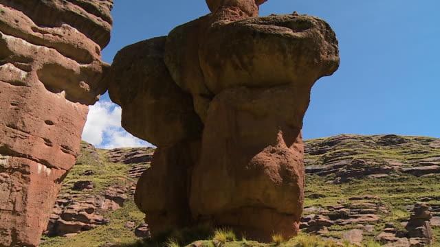 weathered sandstone rocks, peru - sandstone stock videos & royalty-free footage