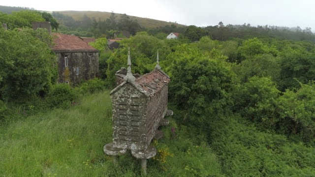 weathered traditional barns amidst plants and houses in village against sky - galicia, spain - galicia stock videos & royalty-free footage