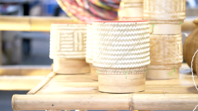 weaving bamboo basket, handmade - wicker stock videos & royalty-free footage