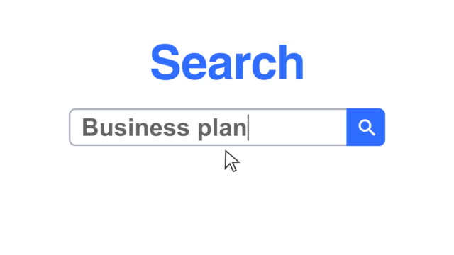 web browser or web page with a search box typing business plan for internet searching - business plan stock videos & royalty-free footage