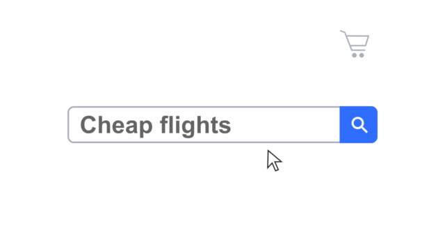 web browser or web page with a search box typing cheap flights for internet searching - web browser stock videos & royalty-free footage