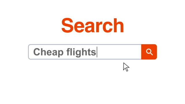 web browser or web page with a search box typing cheap flights for internet searching - search box stock videos & royalty-free footage