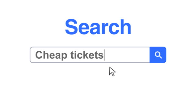 web browser or web page with a search box typing cheap tickets for internet searching - web page stock videos & royalty-free footage