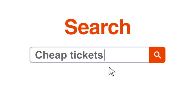 web browser or web page with a search box typing cheap tickets for internet searching - search box stock videos & royalty-free footage