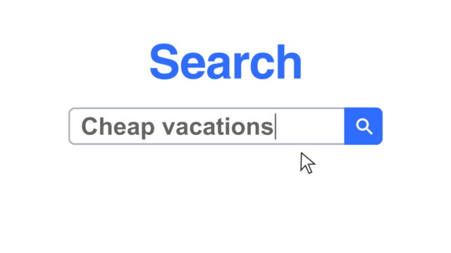 web browser or web page with a search box typing cheap vacations for internet searching - biglietto aereo video stock e b–roll