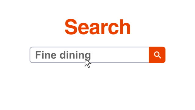 Web browser or web page with a search box typing fine dining for internet searching