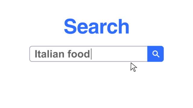 vídeos y material grabado en eventos de stock de navegador web o página web con un cuadro de búsqueda escribir comida italiana para búsqueda en internet - cursor