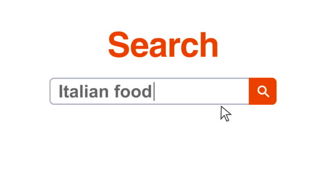 web browser or web page with a search box typing italian food for internet searching - search box stock videos & royalty-free footage